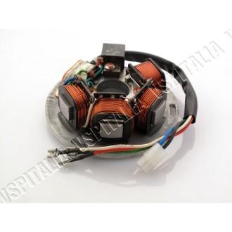 01b - Piatto bobine BGM PRO HP V2.0 Vespa PX 125 150 200 - 5 bobine, connettore a 2 fili, 3 faston - R.O. Piaggio 217866 - 49765