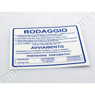 Adesivo -Norme rodaggio- blu da applicare sul retro dello scudo per Vespa 50 - 125 Primavera - ET3 - 90 - 90ss - 180/200 Rally -
