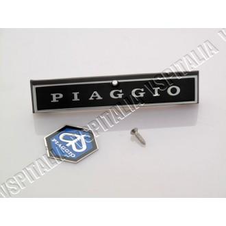 Kit targhetta -Piaggio- con scudetto esagonale per mascherina copristerzo Vespa PX prima serie - R.O. Piaggio 181329