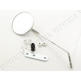 Specchietto cromato sinistro rotondo FAR OMOLOGATO completo di staffa al manubrio per tutti i modelli di Vespa con fissaggio su